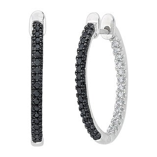 10k White Gold 1/3ct Black and White Diamond Inside Out Hoop Earrings