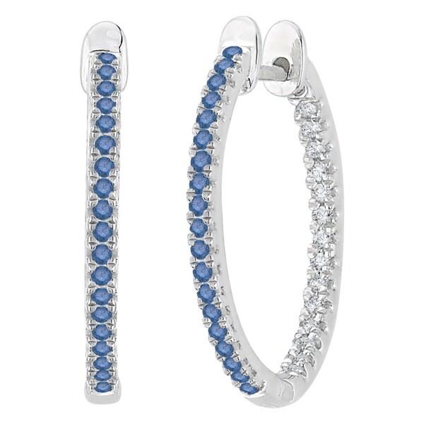 10k White Gold 1/3ct TDW Blue and White Diamond Inside Out Hoop Earrings