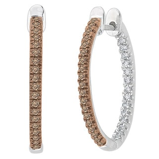 10k White Gold 1/3ct Brown and White Diamond Inside Out Hoop Earrings (G-H, I2-I3)