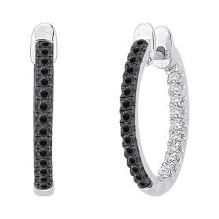 10k White Gold 3/4ct Black and White Diamond Inside Out Hoop Earrings (G-H, I2-I3)