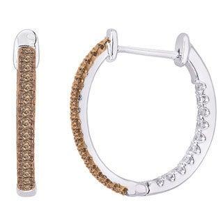 10k White Gold 3/4ct Brown and White Diamond Hoop Earrings