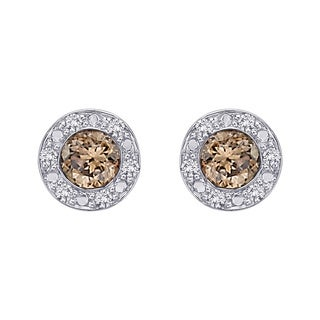 10k White Gold 1/3ct Brown and White Diamond Halo Earrings