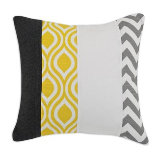 Grey, White and Yellow Vertical Striped 17-inch Throw Pillow