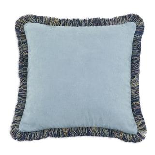 Navy and Sage Fringed 17-inch Throw Pillow