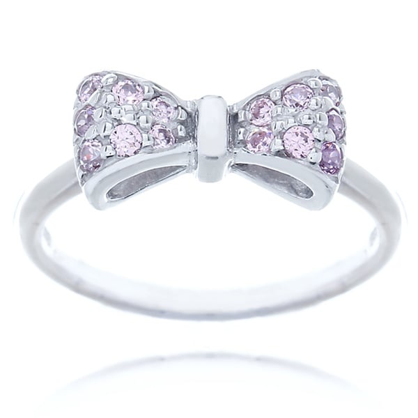 Blue Box Jewels Rhodium-plated Sterling Silver Pink Cubic Zirconia Mini-bow Ring