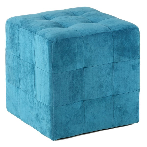 Cortesi Home Blue Fabric Upholstered Cube Ottoman Free