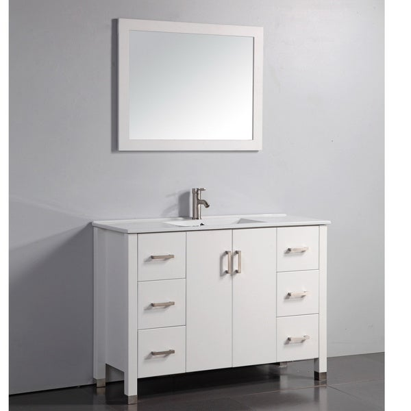 Ceramic top 48 inch white bathroom vanity and matching for Mirror 48 x 60