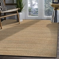 LR Home Natural Fiber Medium Grey Striped Area Rug ( 8' x 10' )