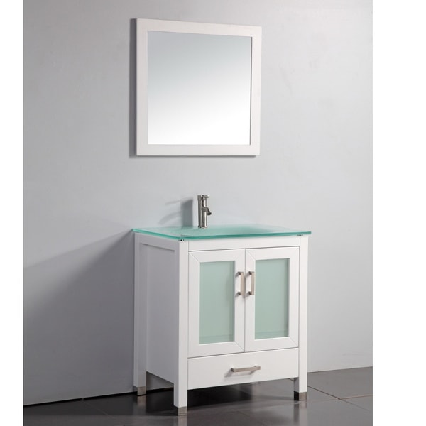 shop tempered glass top white 30 inch bathroom vanity with matching framed mirror and faucet
