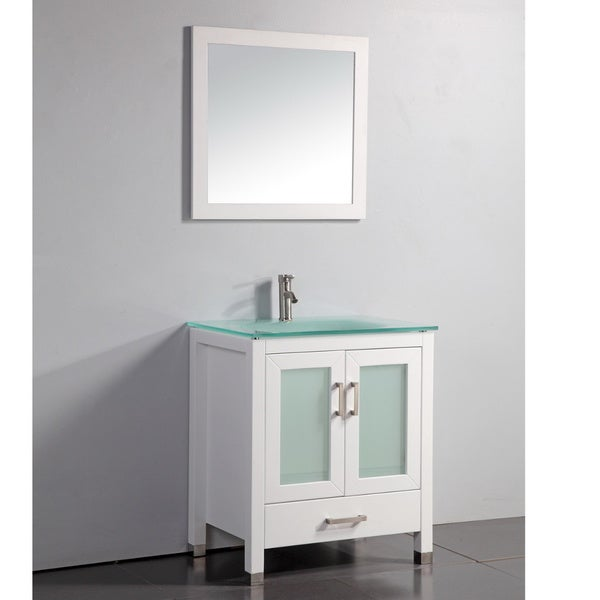 Bathroom mirrors framed diy - Tempered Glass Top White 30 Inch Bathroom Vanity With Matching Framed