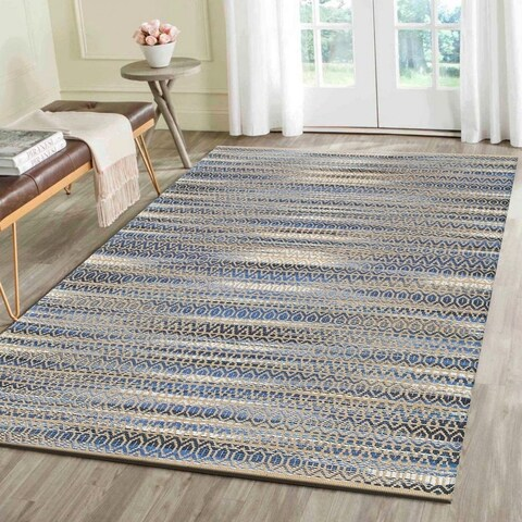 LR Home Hand Loomed Natural Fiber Striped Blue Jute/Chenille Rug - 8' x 10'