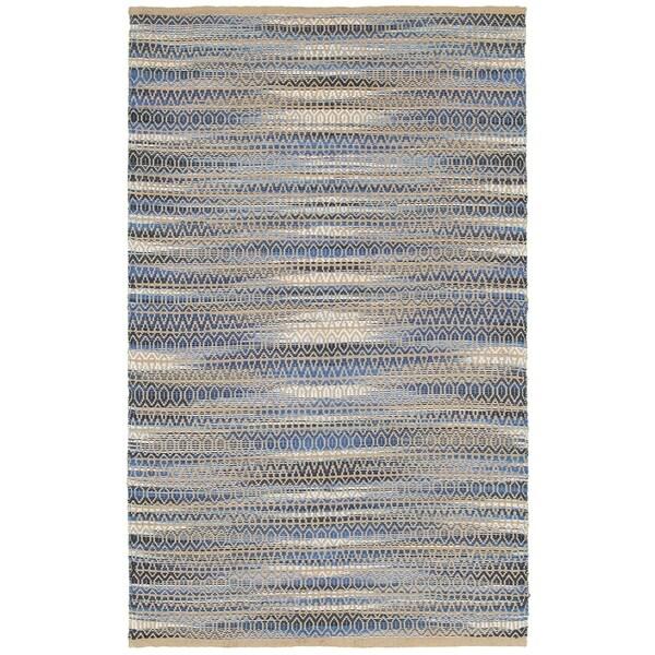 LR Home Natural Fiber Blue Ikat Area Rug ( 8' x 10' )
