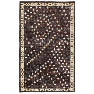 Contemporary Nisha Brown Rectangle Rug (10' x 14')