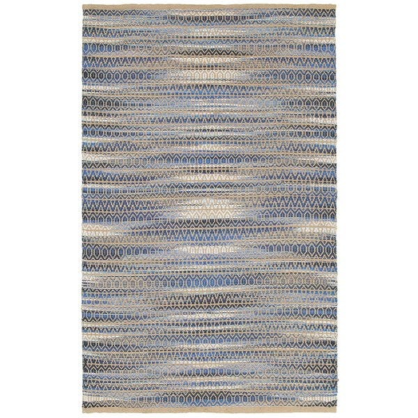 "LR Home Natural Fiber Blue Ikat Area Rug ( 5' x 7'9 ) - 5'2"" x 7'9"""