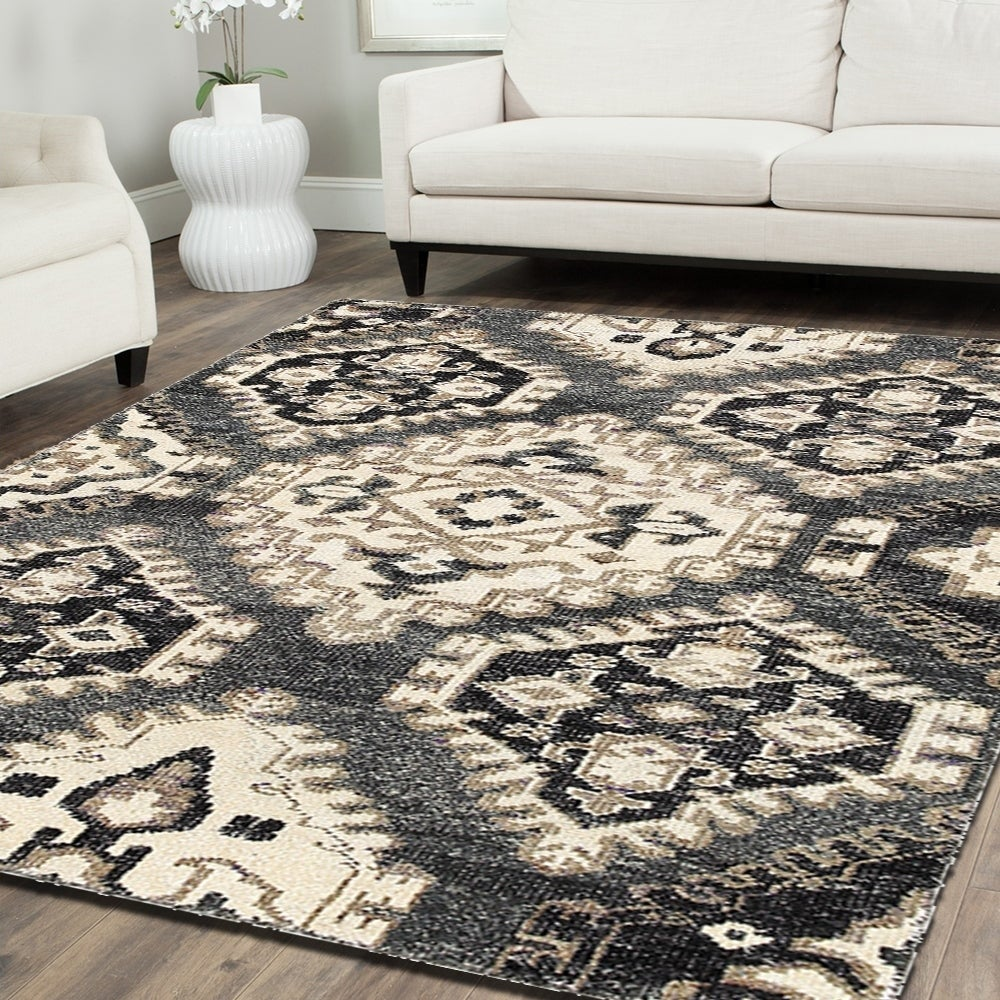 LR Resources Contemporary Nisha Grey Rectangle Rug (9'2 x...
