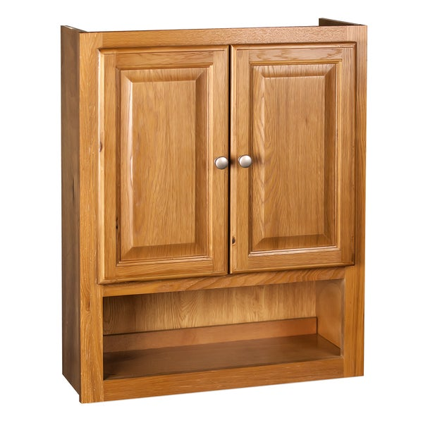 oak bathroom wall cabinets shop raised panel oak bathroom cabinet free shipping 23823