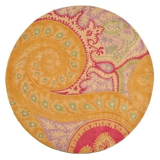 Hand-tufted Wool Orange Contemporary Abstract Paisley Rug (4' Round)