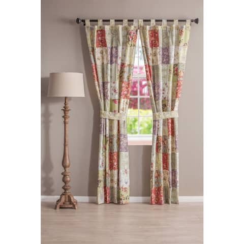 Greenland Home Fashions Blooming Prairie Patchwork Tab-top Curtain Panel Pair - 42 x 84