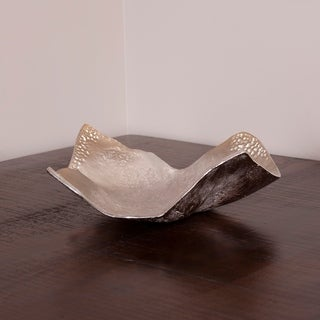 Aluminum Champagne Silvertone Hammered Small Bowl