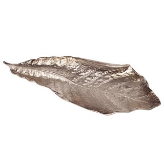 Aluminum Champagne Silvertone Leaf Bowl / Hanging Wall Art