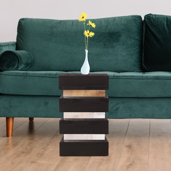 Stepped Black Wood Veneer Small Pedestal with Mirrors