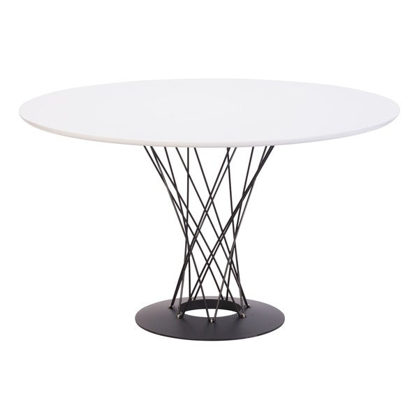 Zuo Chromed Spiral Base Round White Glass Dining Table