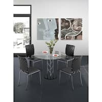 Chardonnay Clear Glass and Chromed Steel Trellis 39-inch Dining Table