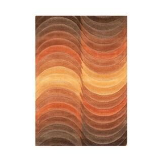 Alliyah Handmade Caramel New Zealand Blend Wool Rug (5' x 8')