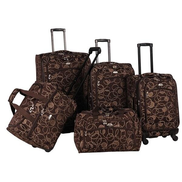 American Flyer Chocolate Swirl 5-piece Spinner Luggage Set