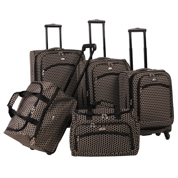 American Flyer Small Dots 5-piece Spinner Luggage Set