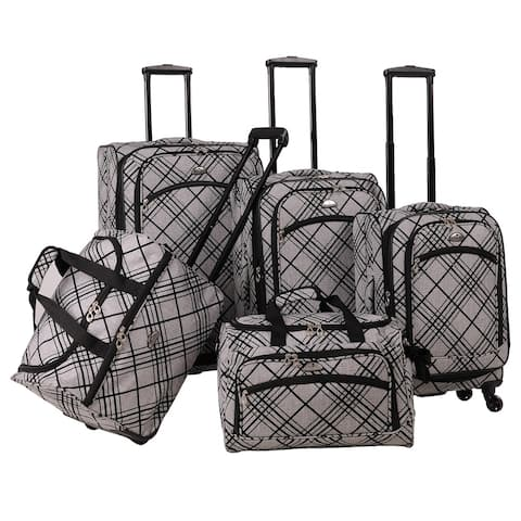 American Flyer Silver Stripes Spinner 5-piece Luggage Set - 28 inches high x 18 inches wide x 11 inches deep