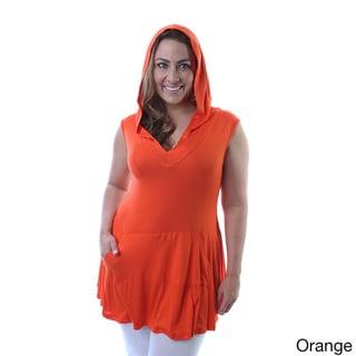 24/7 Comfort Apparel Women's Plus Sleeveless Hooded Tunic