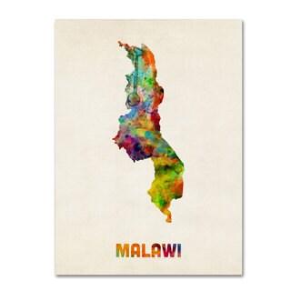 Michael Tompsett 'Malawi Watercolor Map' Canvas Art