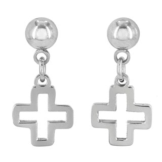 ELYA Stainless Steel Open Cross Dangling Earrings