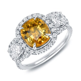 Auriya 14k Gold Cushion Yellow Sapphire and 1 2/5ct TDW 3-Stone Halo Diamond Engagement Ring