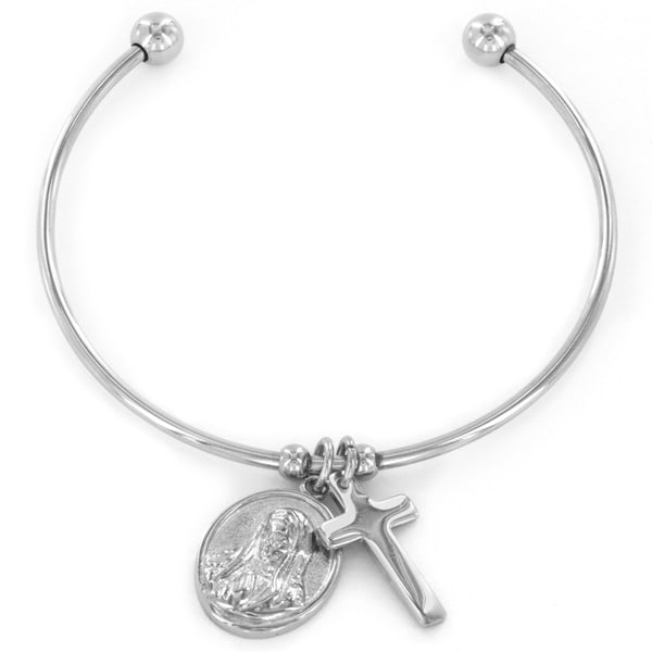 Stainless Steel Virgin Mary and Cross Charms Bangle