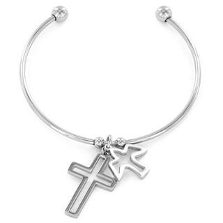 Elya Stainless Steel Cross and Dove Charm Bangle Bracelet