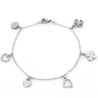 Stainless Steel Heart and Clover Charm Bracelet