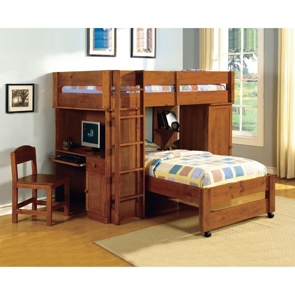 Furniture of America Carmenie Twin over Twin Loft Bed with Built-in ...