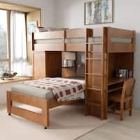 Furniture of America Carmenie Twin over Twin Loft Bed with Built-in Workstation