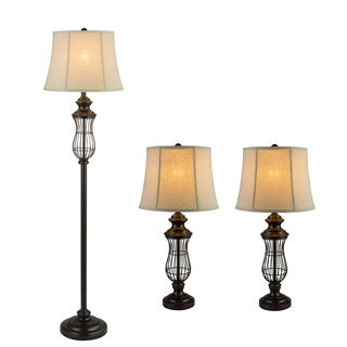 Fangio Lightings #1434 Iron Metal 3PC Lamp Set