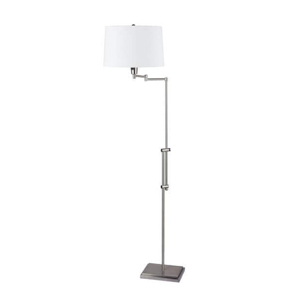 Fangio Lightings #1422 45.25-55.5-inch Brushed Steel Swing Arm Floor Lamp With Square Base