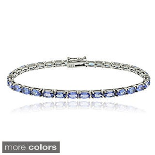 Glitzy Rocks Sterling Silver 8.75 Ct TGW Tanzanite Oval Tennis Bracelet - Blue