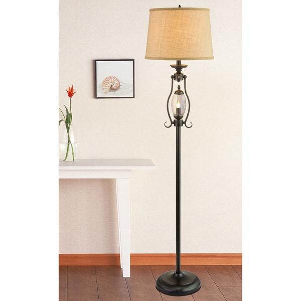 Fangio Lightings #1414 60-inch Black Metal & Glass Floor Lamp With Night Light