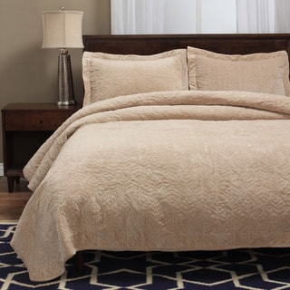 Shop Grand Bazaar Faux Suede 3 Piece Fauna Quilt Set In