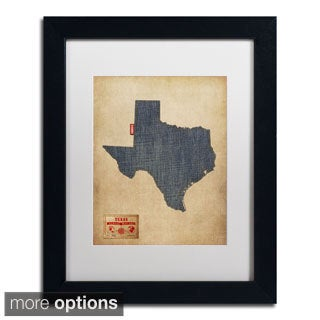 Michael Tompsett 'Texas Map Denim Jeans Style' Framed Matted Art