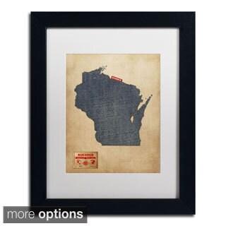Michael Tompsett 'Wisconsin Map Denim Jeans Style' Matted Framed Art
