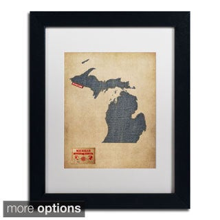 Michael Tompsett 'Michigan Map Denim Jeans Style' Framed Matted Art
