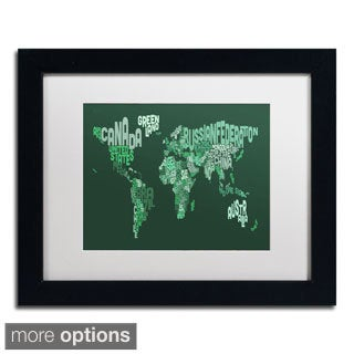 Michael Tompsett 'Text Map of the World' Framed Matted Art