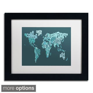 Michael Tompsett 'Text Map of the World II' Framed Matted Art